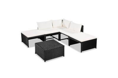 Meubles de jardin collection lima mobilier de jardin 15 pcs résine tressée  noir et blanc crème