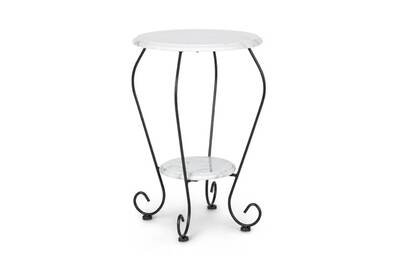 Patras flower table d\'appoint ronde - guéridon avec 2 plateaux en marbre  blanc naturel - design élégant