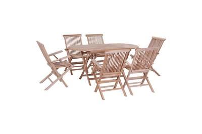 Mobilier de jardin collection caracas mobilier à dîner d\'extérieur pliable  7 pcs bois solide de teck
