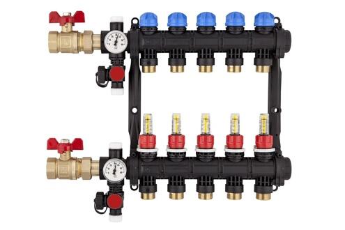 Accessoires chauffage central Collecteur pré-monté en matériau de synthèse avec débimètre - nis - collecteur nis 9 sorties avec débimètre Roth