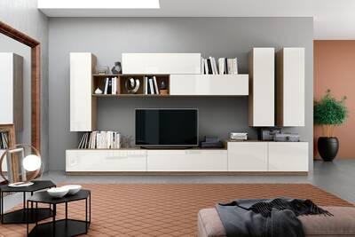 Composition Meuble Tv Max003 Blanc Laque Et Orme Sombre