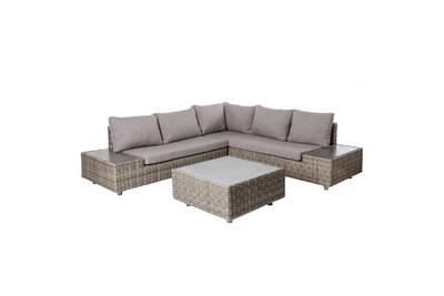 Salon bas de jardin en rotin gris et coussins gris tavira