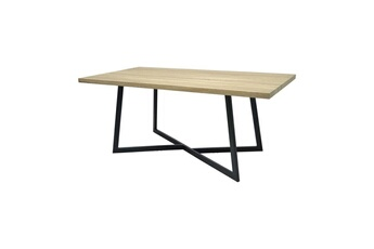 dd2bb3c20b516 Table Donna table a manger de 8 a 10 personnes - industriel - aspect bois  verni