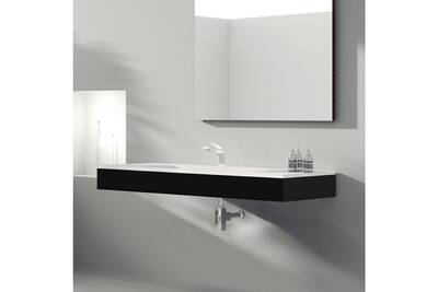 Meuble suspendu 120 cm noir + vasque céramique, futura