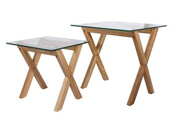 147b6b7b8bfaf Table Lot de 2 tables gigogne avec plateau en verre -pegane- Pegane