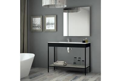 Meuble salle de bain noir 120 cm + vasque céramique, metal