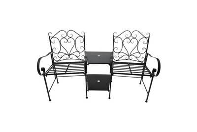 Salon de jardin 2 pers. 3 pièces ensemble bistrot style fer forgé 2  fauteuils + table basse insert parasol métal époxy anticorrosion noir