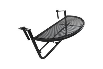Table suspendue pour balcon dim. 60l x 45l cm hauteur réglable 3 niveaux  métal époxy noir
