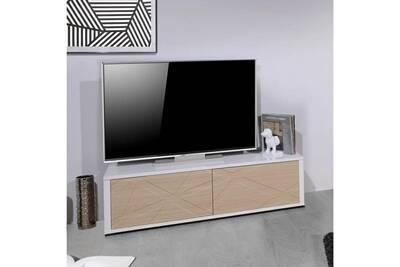 Meuble Tv Nouvomeuble Meuble Tv Moderne Blanc Et Couleur Chêne