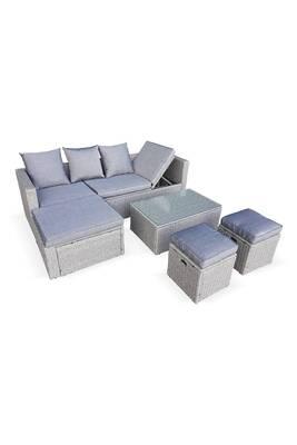 Salon de jardin en résine tressée arrondie - livorno - gris, coussins gris  - 6 places, assise inclinable