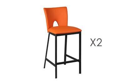 Ensemble Table Chaise Maisonetstyles Lot De 2 Tabourets Bar Orange H67 Cm