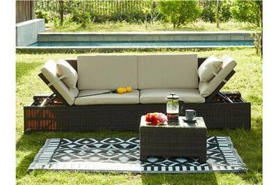Banquette modulable et table basse de jardin gandoca en résine tressée  chocolat - assise crème