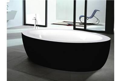 Baignoire Shower Design Baignoire Ilot Marmara 206l 185 91 58cm Noir Darty