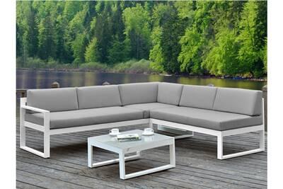 Salon de jardin palaos - table basse et canapé d\'angle relevable 6 places -  gris