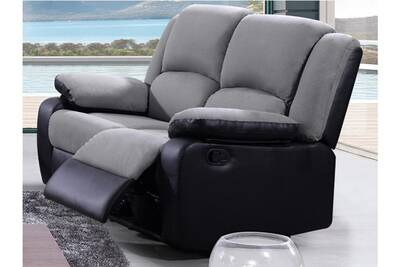 Canapé 2 Places Relax En Microfibre Et Simili Bilston Ii Gris Et Noir
