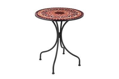 Table ronde métal/mosaïque rouge - newia