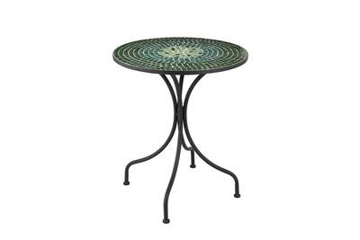 Table ronde métal/mosaïque verte - newia n°1