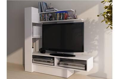 Mur tv kabello avec rangements - blanc
