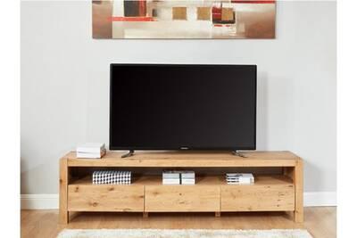 Meuble TV Vente-unique Meuble tv olinka - 3 tiroirs - chêne massif ...