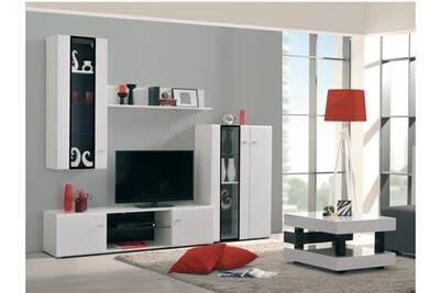 Mur tv loretto avec rangements - leds - coloris blanc & noir