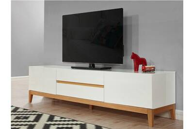 Meuble tv sedna - 2 portes & 2 tiroirs - chêne massif & mdf laqué blanc