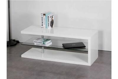 Meuble tv malya - mdf & verre trempé - blanc