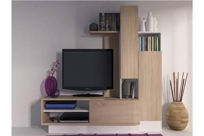Meuble TV Vente-unique Mur tv balinto avec rangements - chêne & ...
