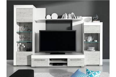 Mur tv amory avec rangements - leds - blanc avec portes aspect béton