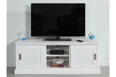Meuble tv guerande - 2 portes & 2 niches - pin blanc