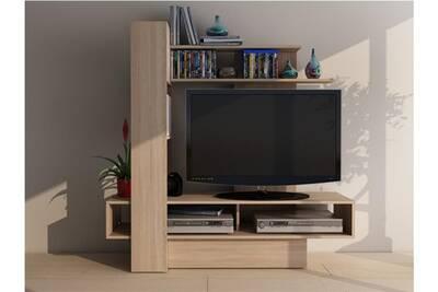 Meuble TV Vente-unique Mur tv kabello avec rangements - chêne   Darty