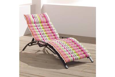 Coussin Pour Chaise De Jardin Douceur D Interieur Bain Soleil 60x180 Cm Matelot Rose Coton