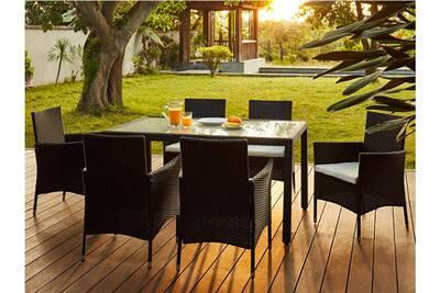 résine assise de tressée Salle palawan à anthraciteune fauteuils table6 jardin en blanche manger EIW29HYD