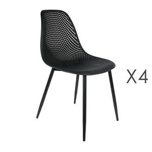 Lot de 4 chaises 54x47x84 cm en pu et métal noir