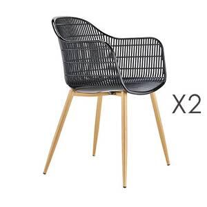 Lot de 2 fauteuils 62x55x85 cm en pu et métal noir