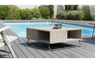 Table de jardin Homifab Table basse de jardin carrée en teck, pieds ...