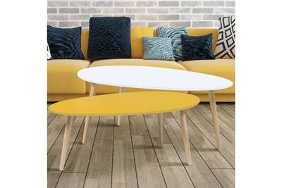 Table Basse Idmarket Lot De 2 Tables Basses Gigognes Laquees Jaune