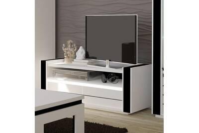 meuble tv lina blanc et noir brillant led