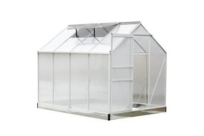 Serre de jardin aluminium polycarbonate 9,74 m³ 2,5l x 1,9l x 2,05h m avec  fondation fenêtres porte coulissante