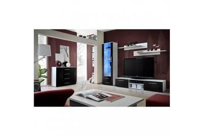 Meuble tv galino b design, coloris blanc et noir brillant. Meuble moderne  et tendance pour votre salon.