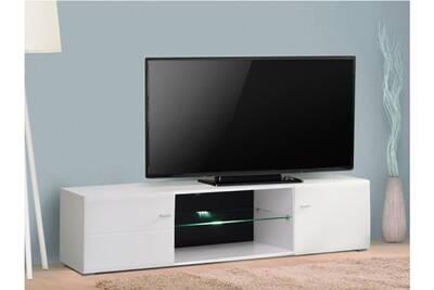 Meuble tv eliaz - mdf laqué blanc & verre trempé - leds - 2 portes & 2  niches