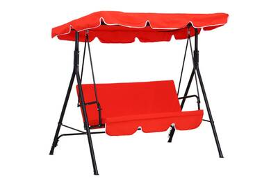Balancelle de jardin 3 places toit imperméabilisé inclinaison réglable  coussins assise et dossier 1,72l x 1,1l x 1,52h m acier noir polyester rouge