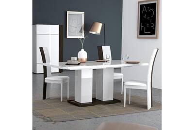 Table à manger design blanche et grise laquée elton