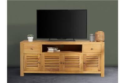 meuble tv sumba 4 portes 2 tiroirs bois de mindy