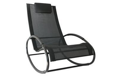 Fauteuil Chaise Longue A Bascule Design Contemporain Dim 105l X 62l X 88h Cm Metal Epoxy Textilene Noir