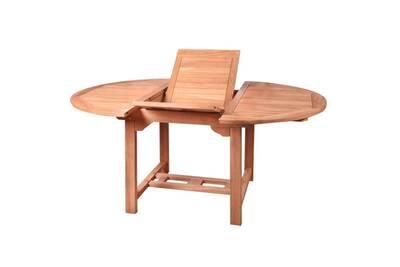 Table de repas ronde à allonge en bois de teck - halaveli - l 120/170 x l  120 x h 77 - neuf