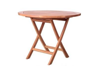 Table de repas ronde en bois de teck - halaveli - l 100 x l 100 x h 75 -  neuf