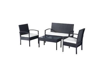 Ensemble salon de jardin 4 places : canapé, 2 fauteuils et table basse  plateau verre trempé résine tressée 4 fils imitation rotin noir coussins ...