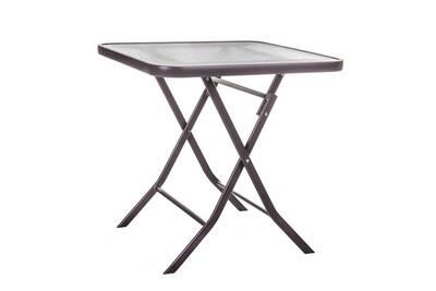 Table de jardin pliante carrée en acier marron et verre nebra