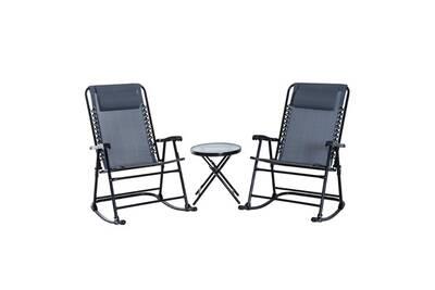 Ensemble de jardin 3 pièces 2 fauteuils à bascule pliables + table basse  pliante acier époxy textilène gris