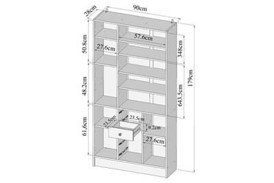 Colonne de salle de bain - armoire de salle de bain galet armoire de salle  de bain l 90 cm - blanc et taupe mat